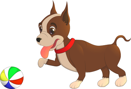 baby playing toy: Dog and ball. Cartoon character bulldog puppy playing with a ball, vector illustration