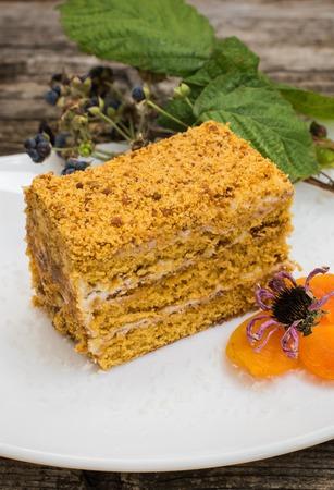 honey cake: honey cake on a wooden background