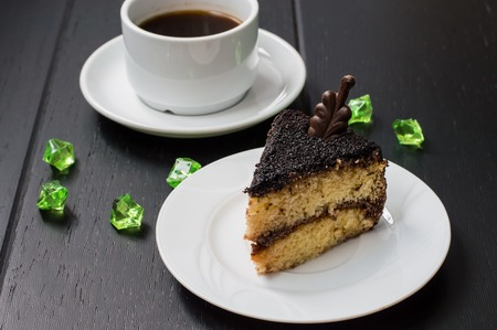 Truffle cake with coffee for breakfast. wood background Stock Photo