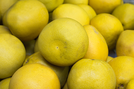 Ripe grapefruit, yellow, sale at vegetable market. Backdrop. Top view. Close-up