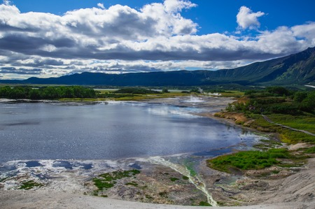 Acid lake in Uzons volcano caldera. Kamchatka. Russia.