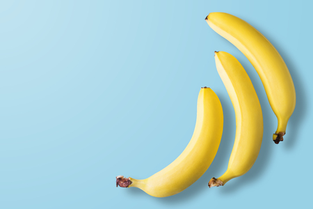 Bananas on pastel blue background. Minimal fashion. Albino Different Creativity Creative Thinking Ideas Concept. Free space for text.