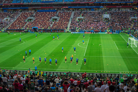 MOSCOW, RUSSIA - July 11, 2018: Football fans celebrating during the FIFA 2018 World Cup in the semi finals football match between England and Croatia at Luzhniki Stadium. Redactioneel