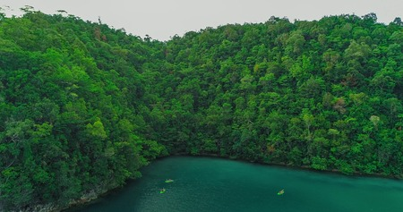 Aerial view of Sugba lagoon. Beautiful landscape with blue sea lagoon, National Park, Siargao Island, Philippines. Imagens