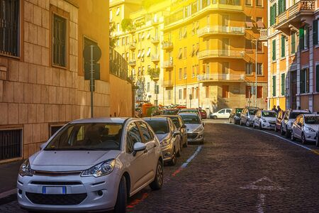 ROME, ITALY, on November 11, 2018. Cars parked on the beautiful street in a historical part of the city
