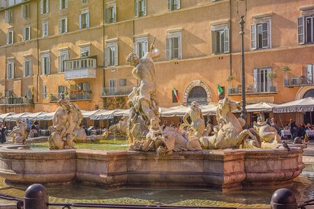 ROME, ITALY, on November 11, 2018. Fountain in the square Piazza Navona, Rome. Italy