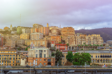 View of the town of Genoa in Italy Stock Photo - 117504448