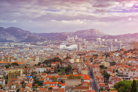 Aerial View at dawn on the Marseille City, France 免版税图像