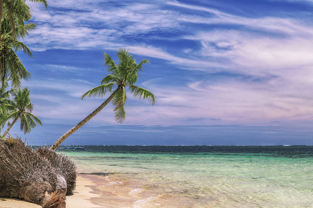 Beautiful beach. View of nice tropical beach with palms around. Holiday and vacation concept. Tropical beachat Philippines on the coast island Siargao Archivio Fotografico - 120803354