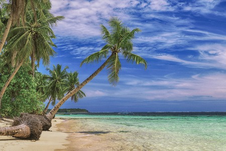 Beautiful beach. View of nice tropical beach with palms around. Holiday and vacation concept. Tropical beachat Philippines on the coast island Siargao Stock fotó