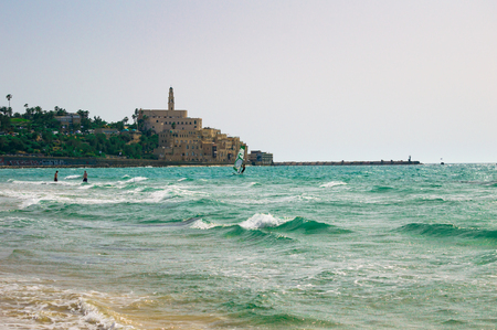 View from the shore of the Mediterranean Sea on Old Jaffa, Tel Aviv, Israel Фото со стока - 123043537