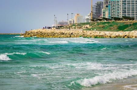 View from the shore of the Mediterranean Sea on Old Jaffa, Tel Aviv, Israel Archivio Fotografico - 123043545