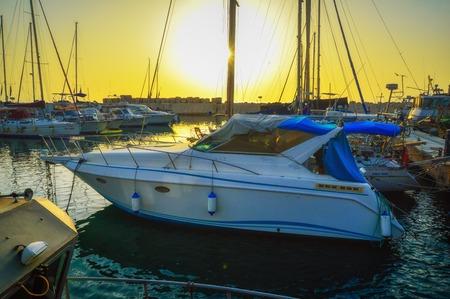 Evening Jaffa old port at sunset of the day. Tel Aviv Yafo Israel. Фото со стока - 123306588