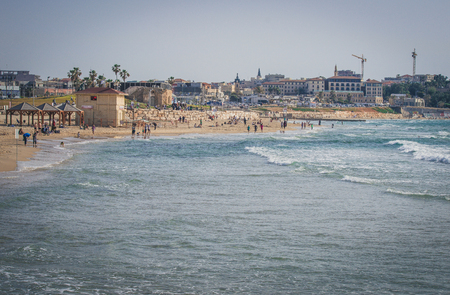View from the shore of the Mediterranean Sea on Old Jaffa, Tel Aviv, Israel