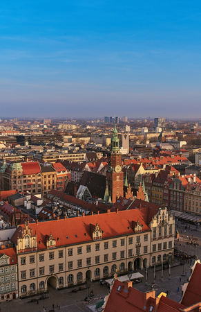 Aerial view of Stare Miasto with Market Square, Old Town Hall and St. Elizabeths Church from St. Mary Magdalene Church in Wroclaw, Poland Фото со стока - 123040591