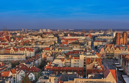Aerial view on the centre of the city Wroclaw, Poland Фото со стока - 123040595