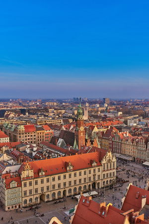 Aerial view of Stare Miasto with Market Square, Old Town Hall and St. Elizabeths Church from St. Mary Magdalene Church in Wroclaw, Poland Фото со стока