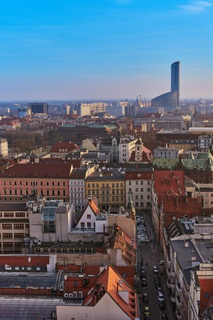 Wroclaw, Poland. Aerial view of Sky Tower and other buildings Фото со стока - 123032297