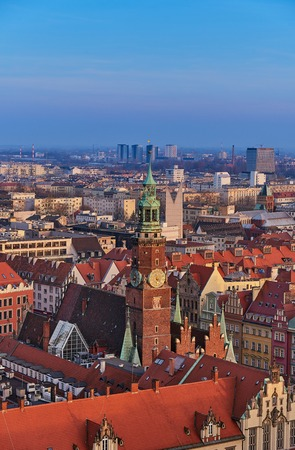 Aerial view of Stare Miasto with Market Square, Old Town Hall and St. Elizabeths Church from St. Mary Magdalene Church in Wroclaw, Poland Фото со стока - 123032330