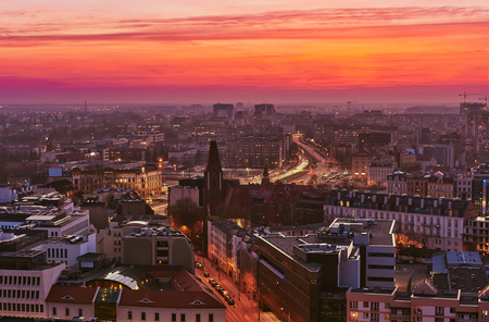 Beautiful, colorful sunset over Wroclaw aerial view