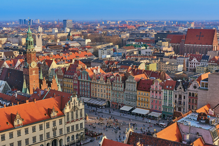 Aerial view of Stare Miasto with Market Square, Old Town Hall and St. Elizabeths Church from St. Mary Magdalene Church in Wroclaw, Poland
