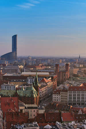 Wroclaw, Poland. Aerial view of Sky Tower and other buildings