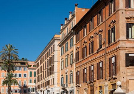 Colorful street of Rome city and capital of Italy.