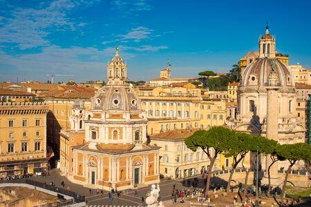 Rome, Italy - November 11, 2018: Piazza Venezia, view from Vittorio Emanuele II Monument, Rome