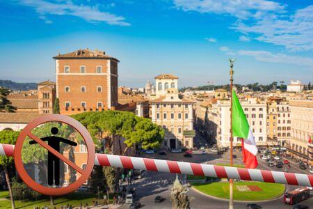 Coronavirus in Rome, Italy. Italy Coronavirus COVID-19 world outbreak concept. Piazza Venezia, view from Vittorio Emanuele II Monument, Rome