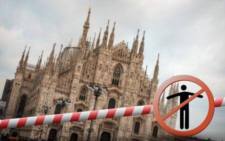 Coronavirus in Milan, Italy. Italy Coronavirus COVID-19 world outbreak concept. Cathedral in Milan Duomo di Milano