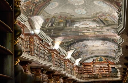 Prague Czech Republic. The baroque library inside Klementinum