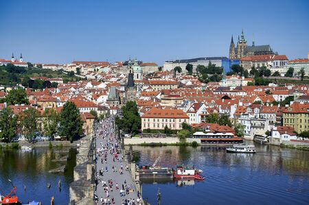 Prague Czech Republic. Aerial view of the castle (hrad), Vltava river and Charles Bridge Archivio Fotografico