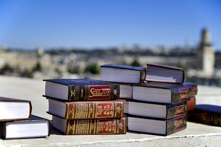 Jerusalem Israel. Holy books on a roof of the old city