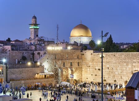 Jerusalem Israel. Dome of the rock, temple mount and wailing wall at sunset Stock Photo