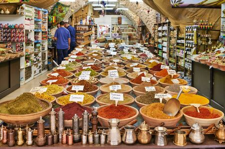Jerusalem Israel. Selling spices in a shop of the old city