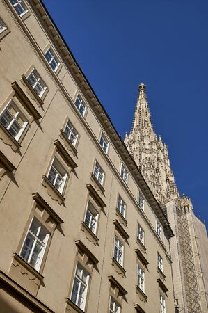 Low angle view of the bell tower of Stephansdom Cathedral in Vienna Austria