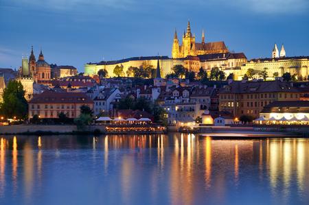 Prague Czech Republic. Vltava River and the castle at sunset