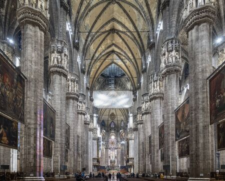 Milan Italy. The interior of the Duomo cathedral