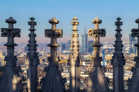 Milan Italy. The cityscape from the spires of the Duomo Cathedral