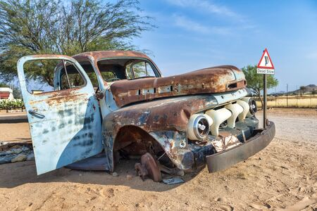 Namibia, Africa. Car wreckage at Solitaire village