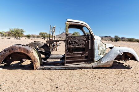 Namibia, Africa. Car wreckage in the desert