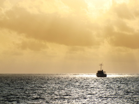fishing industry: Fishing boat in morning calm