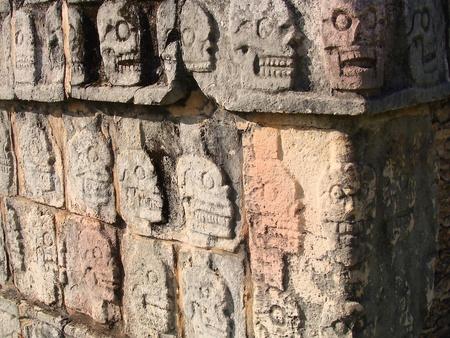 Ancient Mayan Rituals- Skull Rack Temple in Chichen Itza Mexico photo