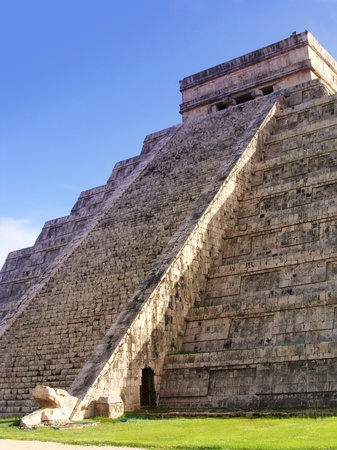 mayan prophecy: Maya pyramid temple in Chichen Itza with descending serpent light effect