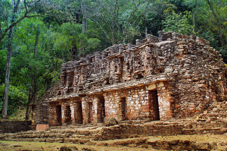 Ancient temple ruins of Yaxchilan in the jungle of southern Mexico