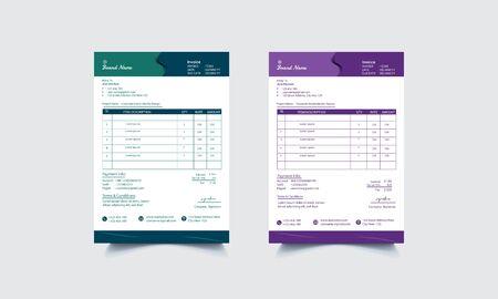Modern Creative  invoice Template Design.Payment description of Corporate Company.