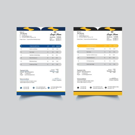 Color Ful Invoice Template Design.Creative invoice template.Minimal Style Invoice Design with Background.Fully editable Ai Invoice For Billing.