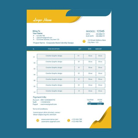 Print Ready Invoice Template Design for New Business.minimal yellow invoice template.Invoice form design a4 size.Business style invoice Design with Background Ilustração