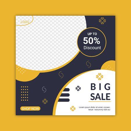 Big Sale Social Media Post Template Design.Promotional web banner for social media.Editable Social Media Post layout Design.Online advertisement for new Business.Digital marketing poster stories.