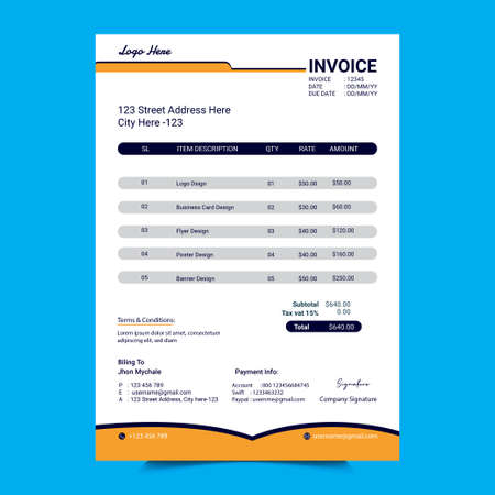 Creative Invoice Template Design.Minimalist Payment template design for your business.Bill form design layout template.  Simply document paper calculation template